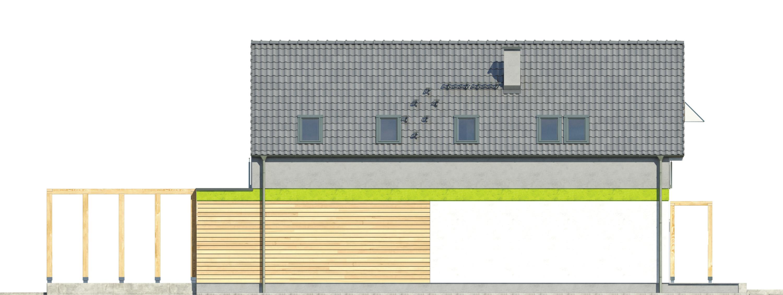 Projekt domu MAŁY I WĄSKI Domy Czystej Energii elewacja tylna