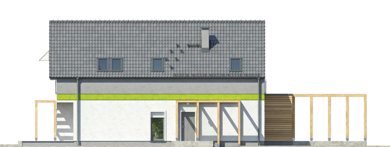 Projekt domu MAŁY I WĄSKI Domy Czystej Energii elewacja frontowa
