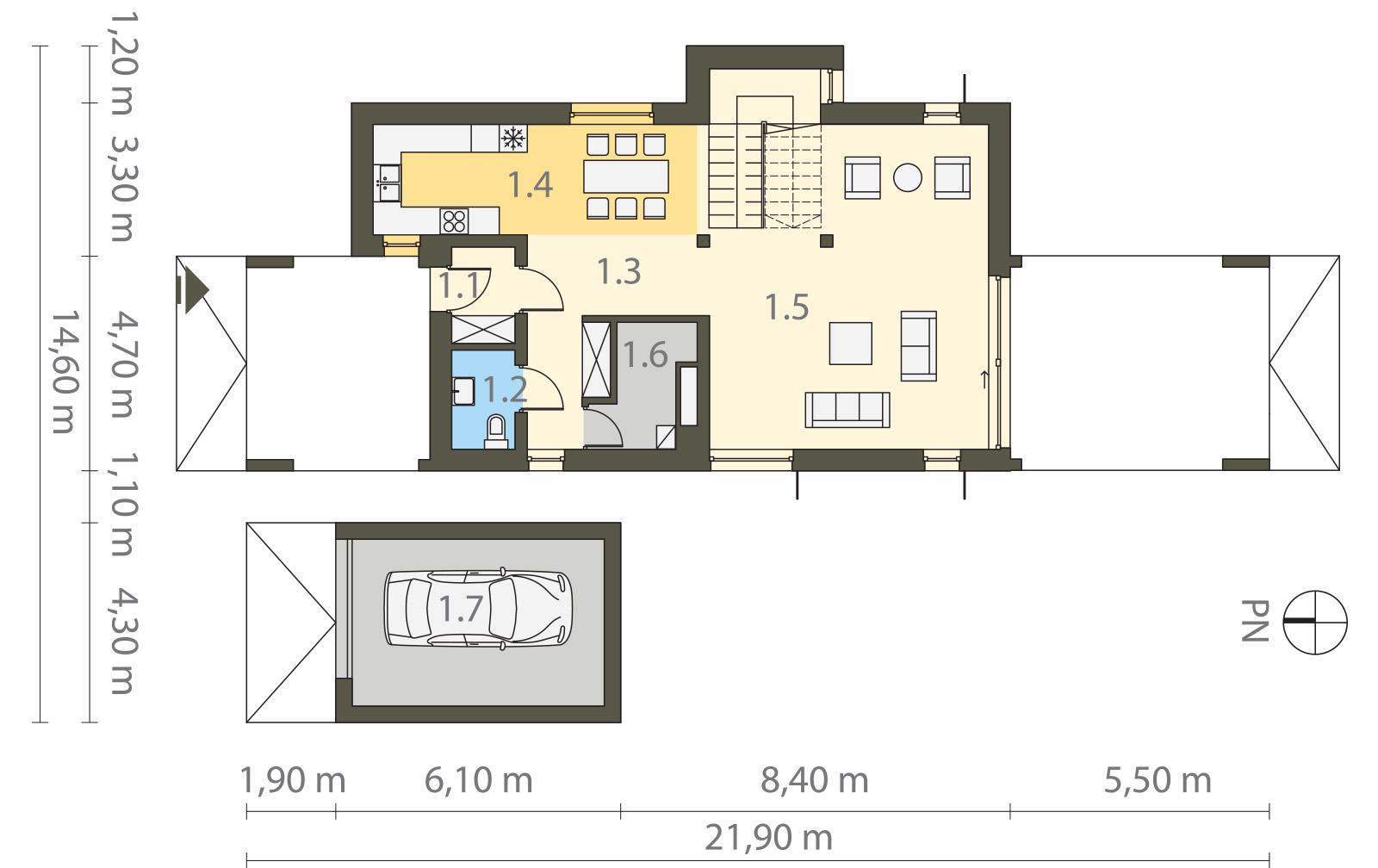 Projekt domu MODERN Domy Czystej Energii rzut parteru