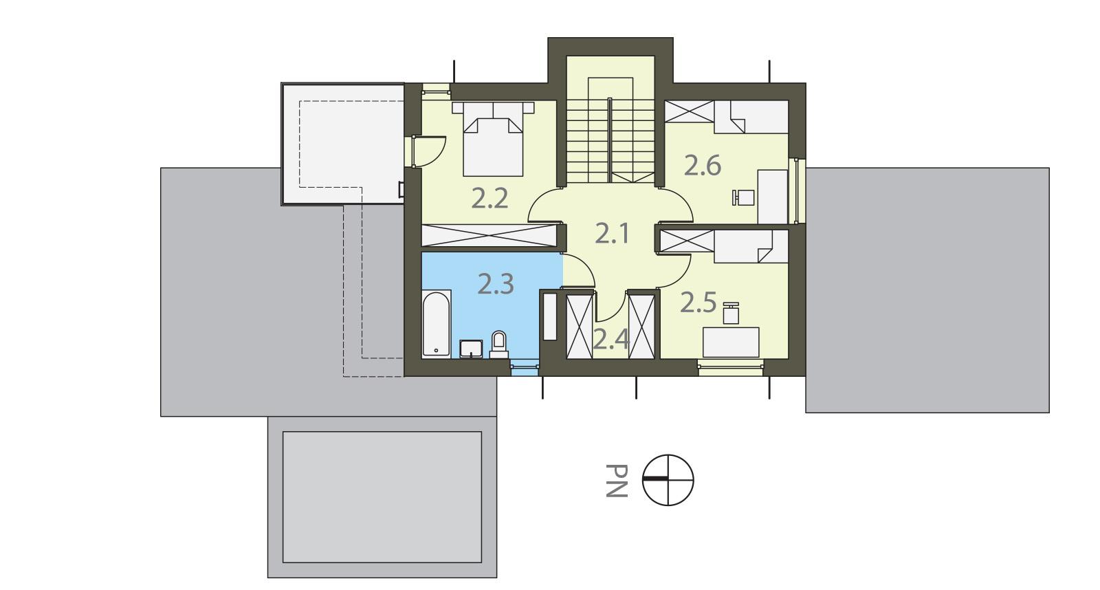 Projekt domu MODERN Domy Czystej Energii rzut piętra