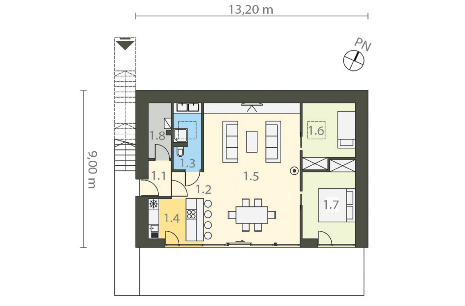 Projekt domu Z WIDOKIEM NA SŁOŃCE Domy Czystej Energii rzut parteru