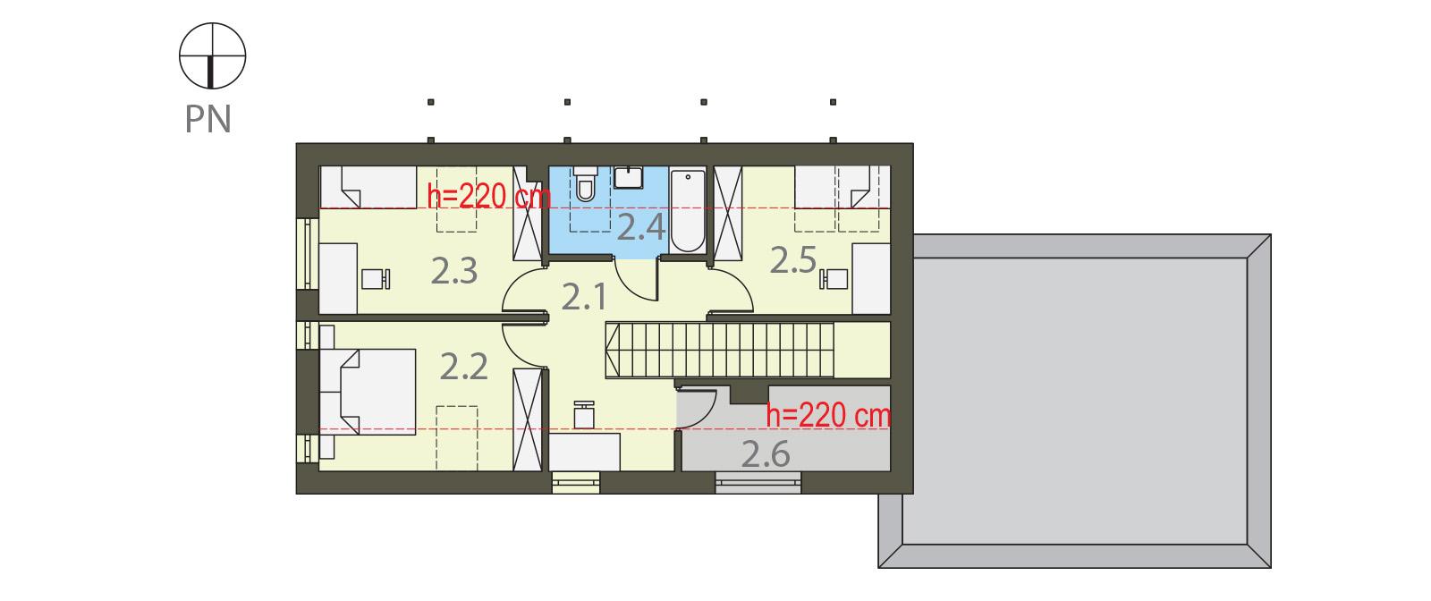 Projekt domu NIEBIESKI Domy Czystej Energii rzut piętra