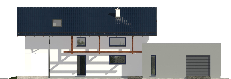 Projekt domu NIEBIESKI Domy Czystej Energii elewacja frontowa