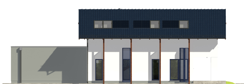 Projekt domu NIEBIESKI Domy Czystej Energii elewacja tylna