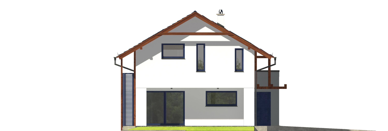 Projekt domu NIEBIESKI Domy Czystej Energii elewacja boczna