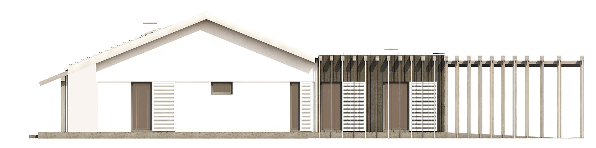 Projekt domu NIZINNY Domy Czystej Energii elewacja tylna