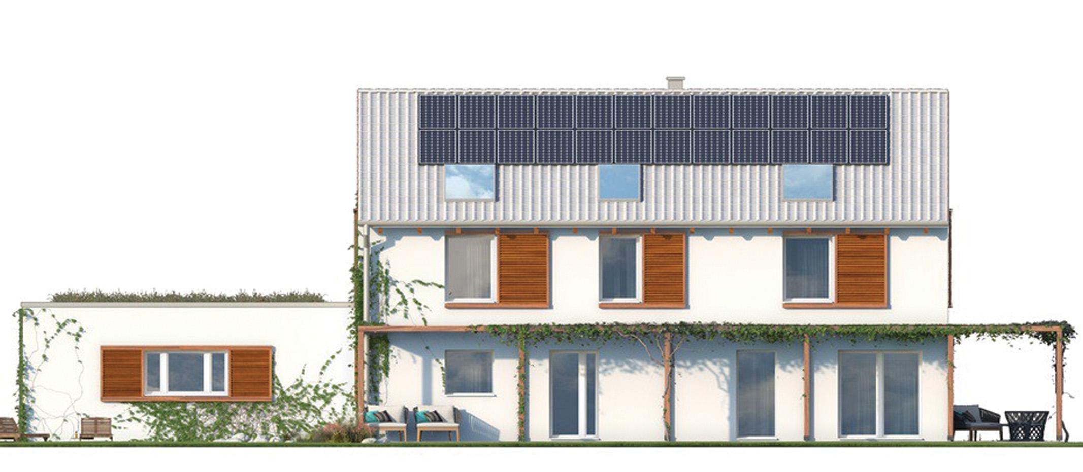 Projekt domu ORKISZ Domy Czystej Energii elewacja tylna