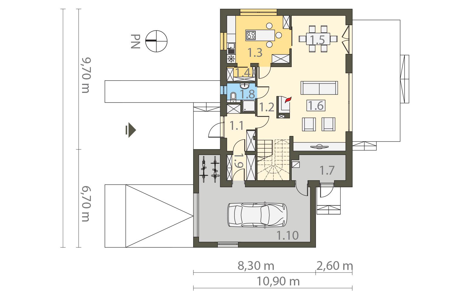 Projekt domu ORZECHOWY Domy Czystej Energii rzut parteru