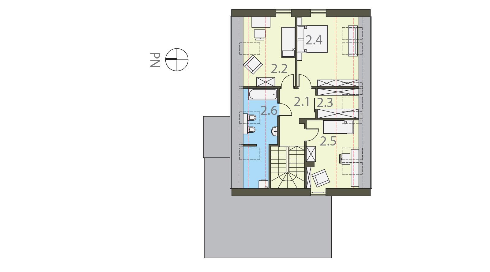 Projekt domu ORZECHOWY Domy Czystej Energii rzut piętra