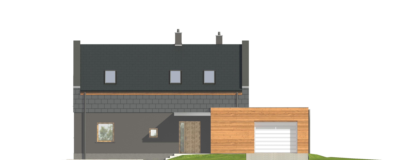 Projekt domu ORZECHOWY Domy Czystej Energii elewacja frontowa