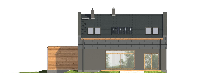 Projekt domu ORZECHOWY Domy Czystej Energii elewacja tylna