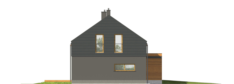 Projekt domu ORZECHOWY Domy Czystej Energii elewacja boczna