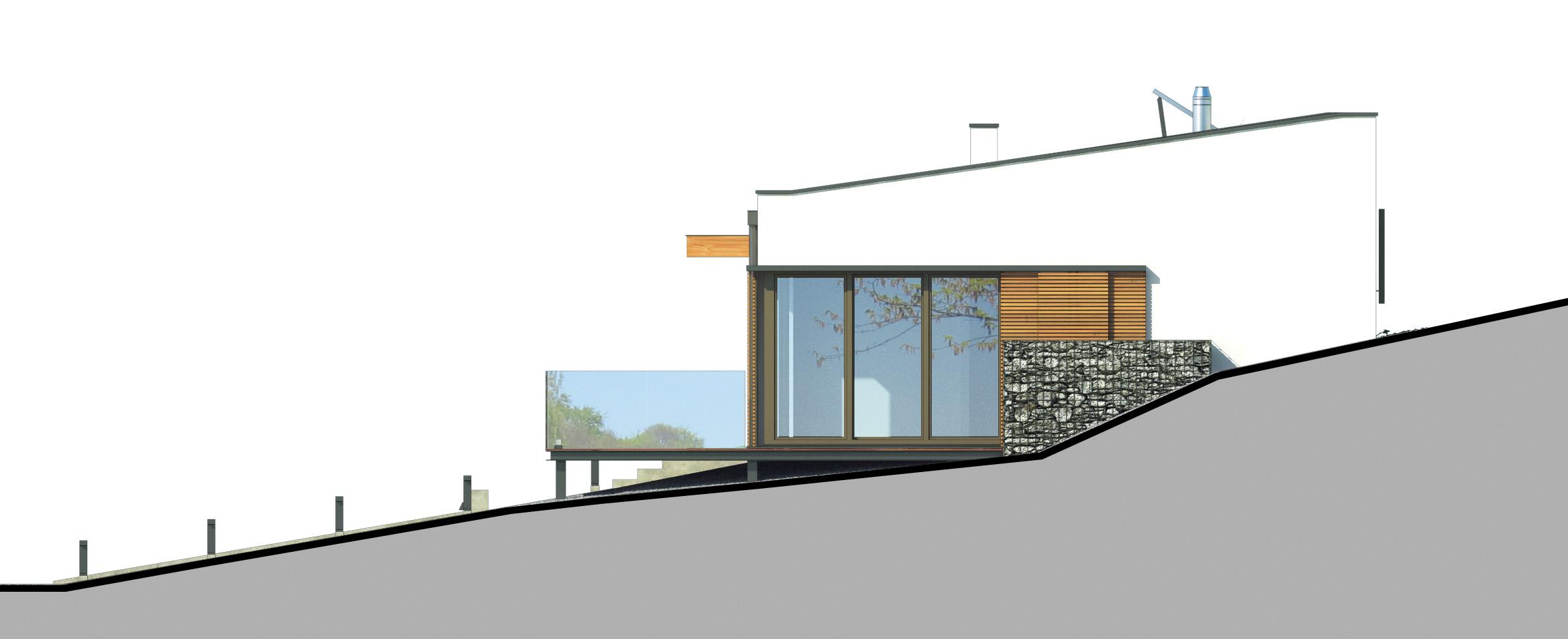 Projekt domu OTULONY Domy Czystej Energii elewacja boczna