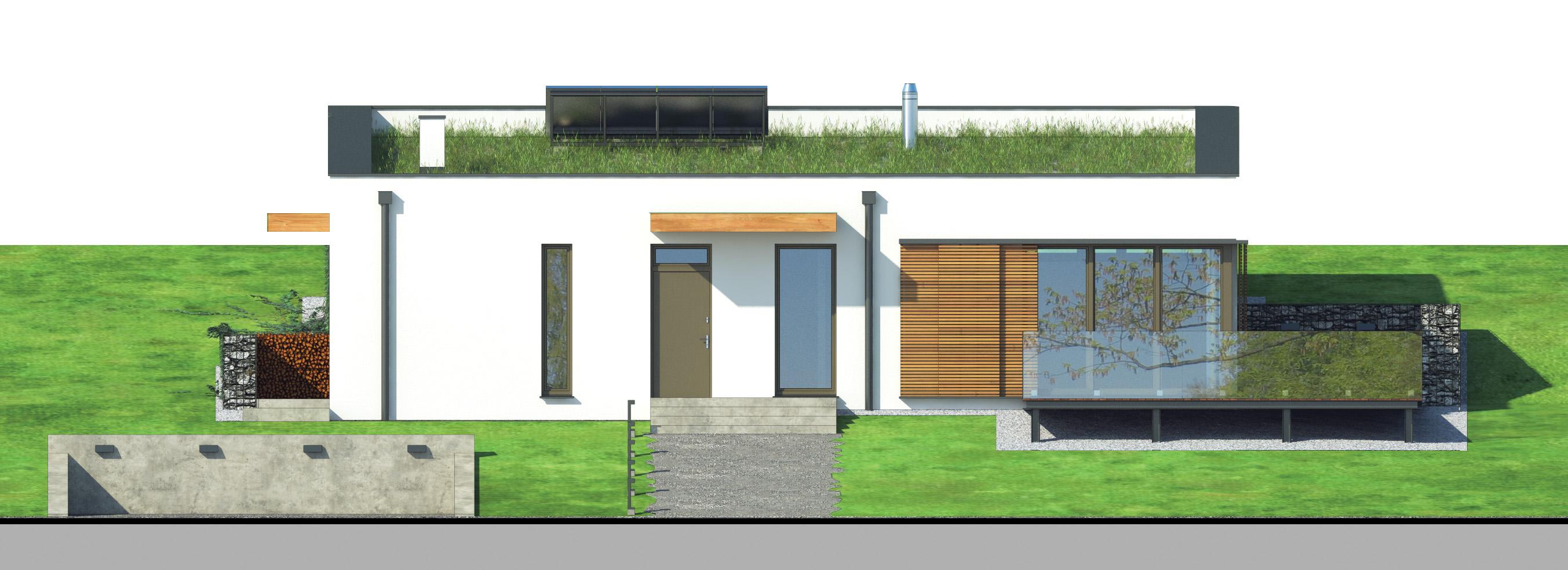 Projekt domu OTULONY Domy Czystej Energii elewacja frontowa
