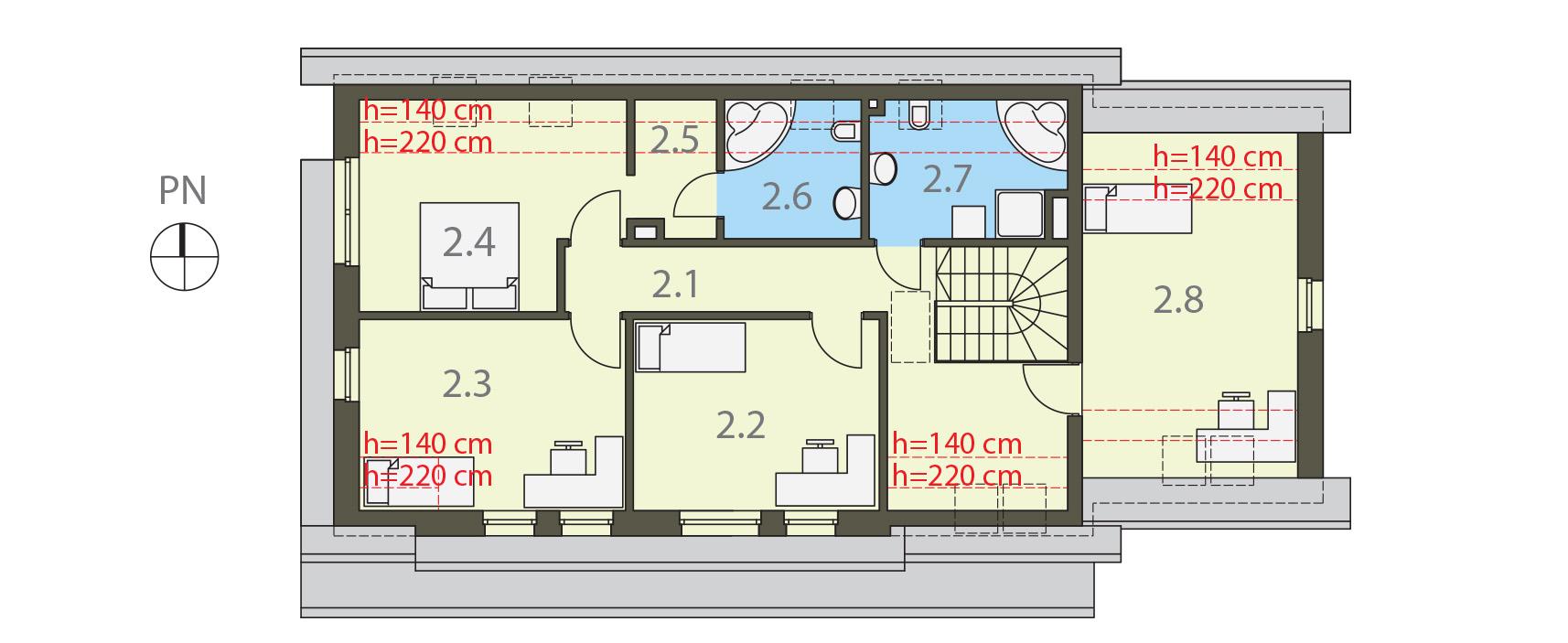 Projekt domu OTWARTY Domy Czystej Energii rzut piętra