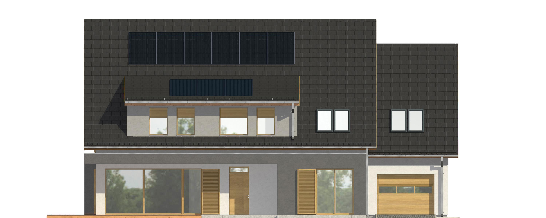 Projekt domu OTWARTY Domy Czystej Energii elewacja frontowa