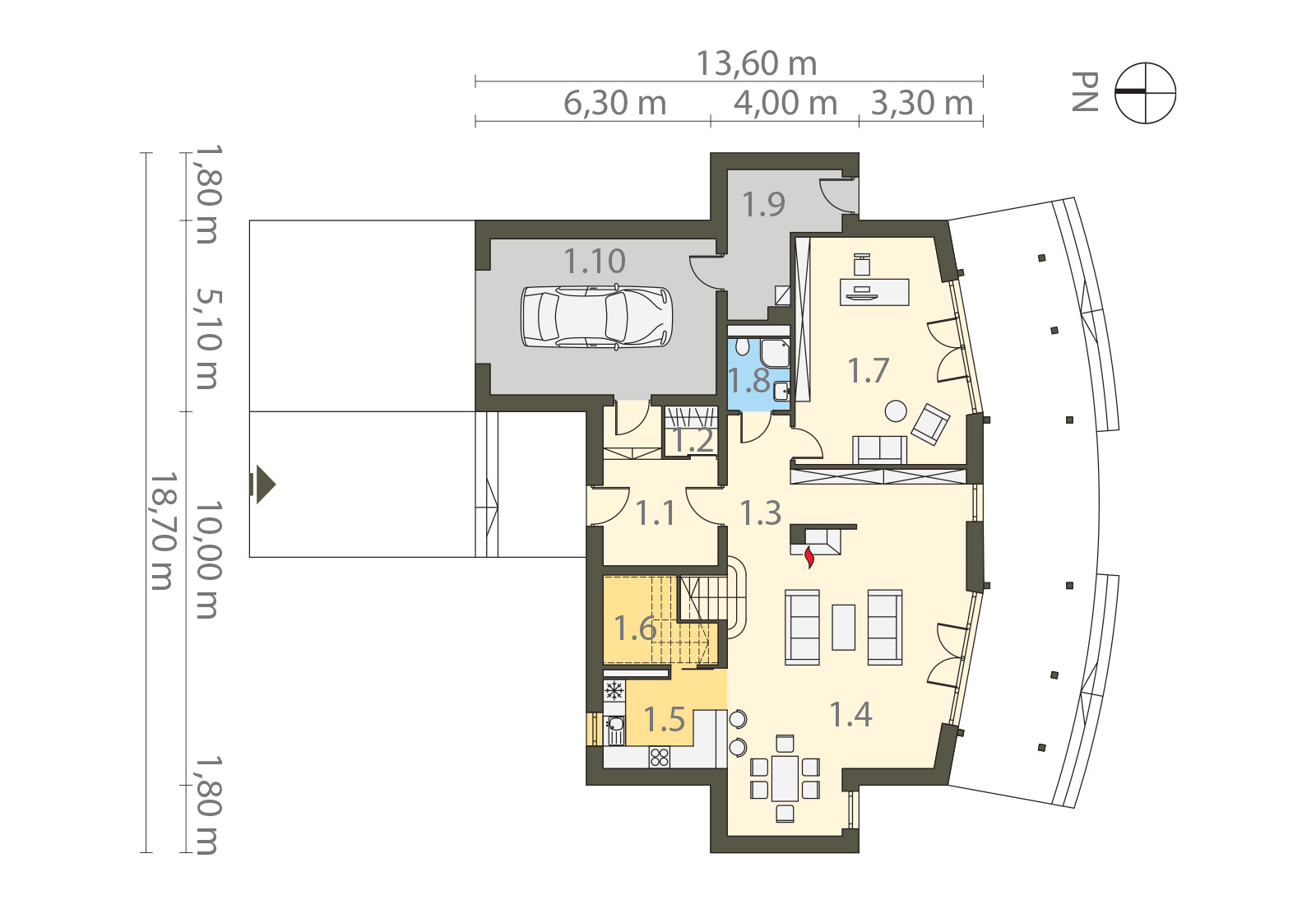 Projekt domu PANORAMA Domy Czystej Energii rzut parteru
