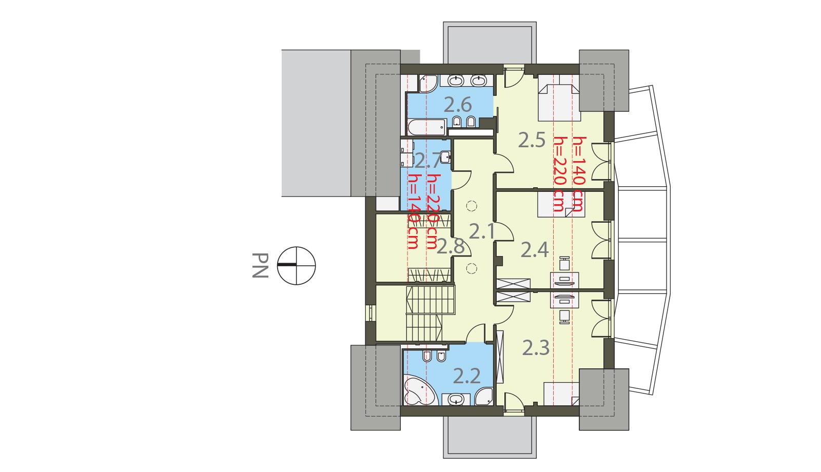 Projekt domu PANORAMA Domy Czystej Energii rzut piętra