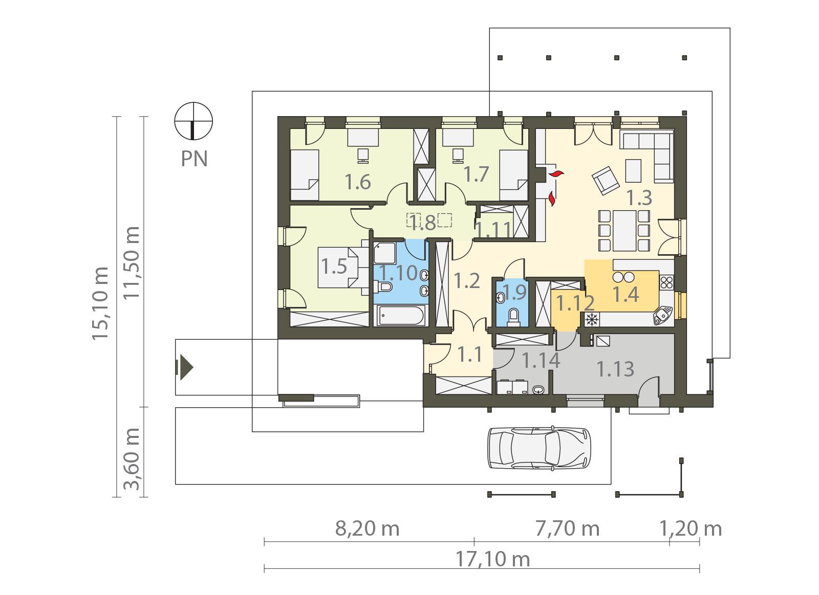 Projekt domu PARTEROWY II Domy Czystej Energii rzut parteru