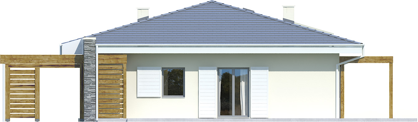 Projekt domu PARTEROWY II Domy Czystej Energii elewacja tylna