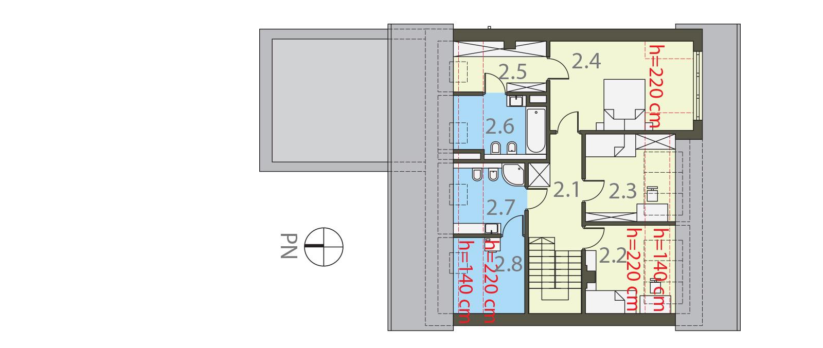 Projekt domu POGODNY Domy Czystej Energii rzut piętra