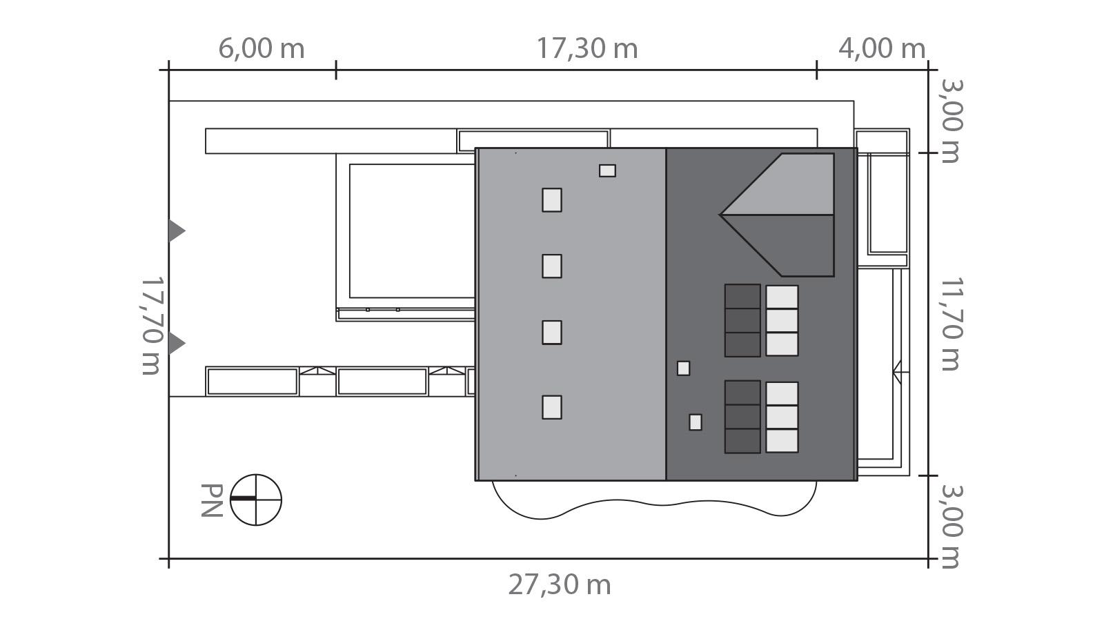 Projekt domu POGODNY Domy Czystej Energii rzut działki