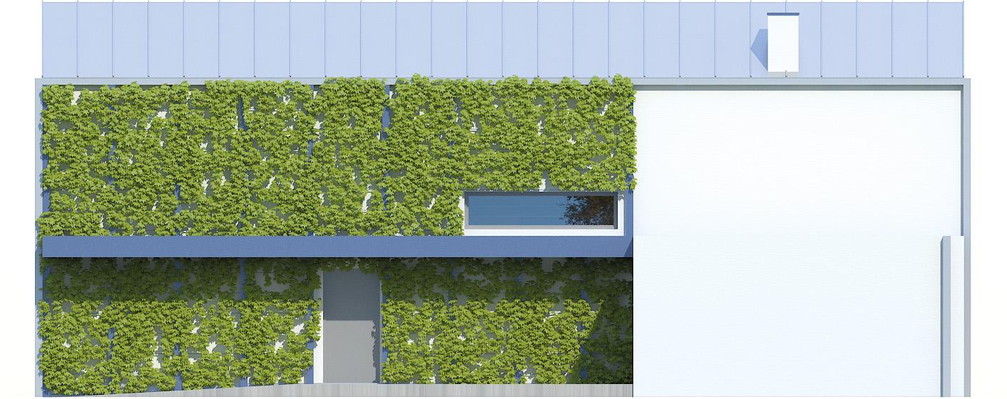 Projekt domu POŁUDNIOWY Domy Czystej Energii elewacja frontowa