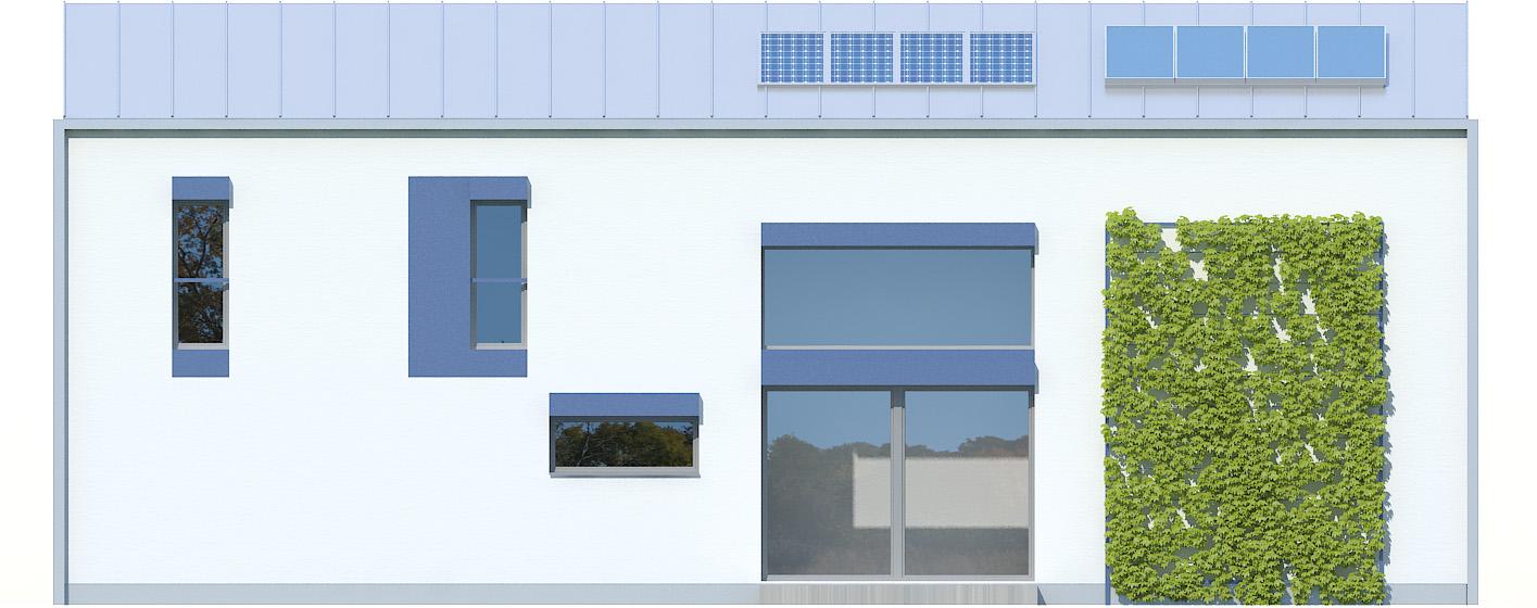 Projekt domu POŁUDNIOWY Domy Czystej Energii elewacja tylna