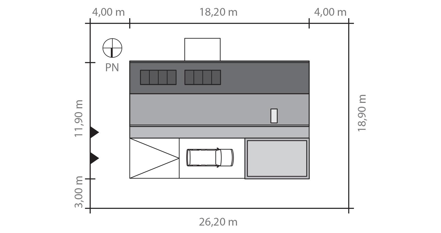 Projekt domu POŁUDNIOWY Domy Czystej Energii rzut działki