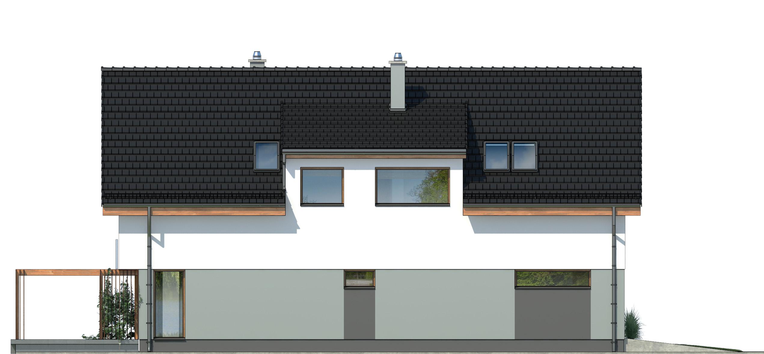 Projekt domu PRAKTYCZNY Domy Czystej Energii elewacja tylna
