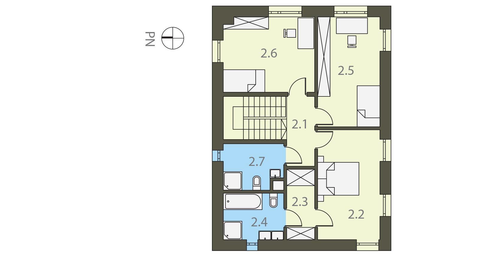 Projekt domu PROSTOKĄTNY Domy Czystej Energii rzut piętra