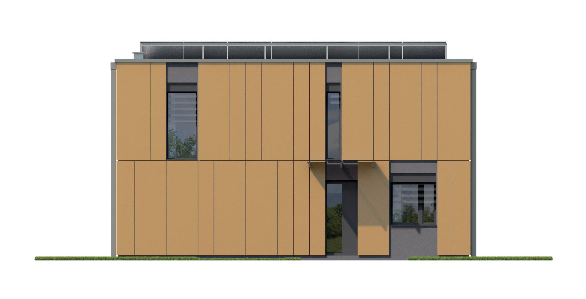 Projekt domu PROSTOKĄTNY Domy Czystej Energii elewacja frontowa
