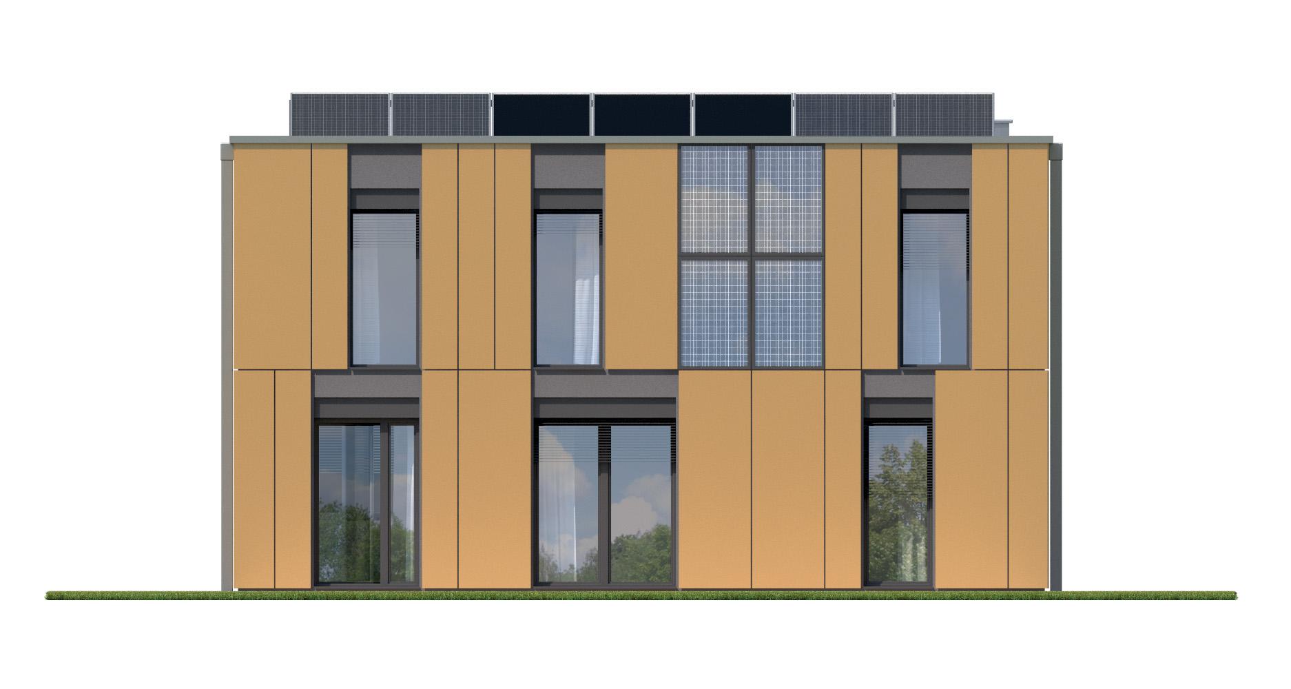 Projekt domu PROSTOKĄTNY Domy Czystej Energii elewacja tylna
