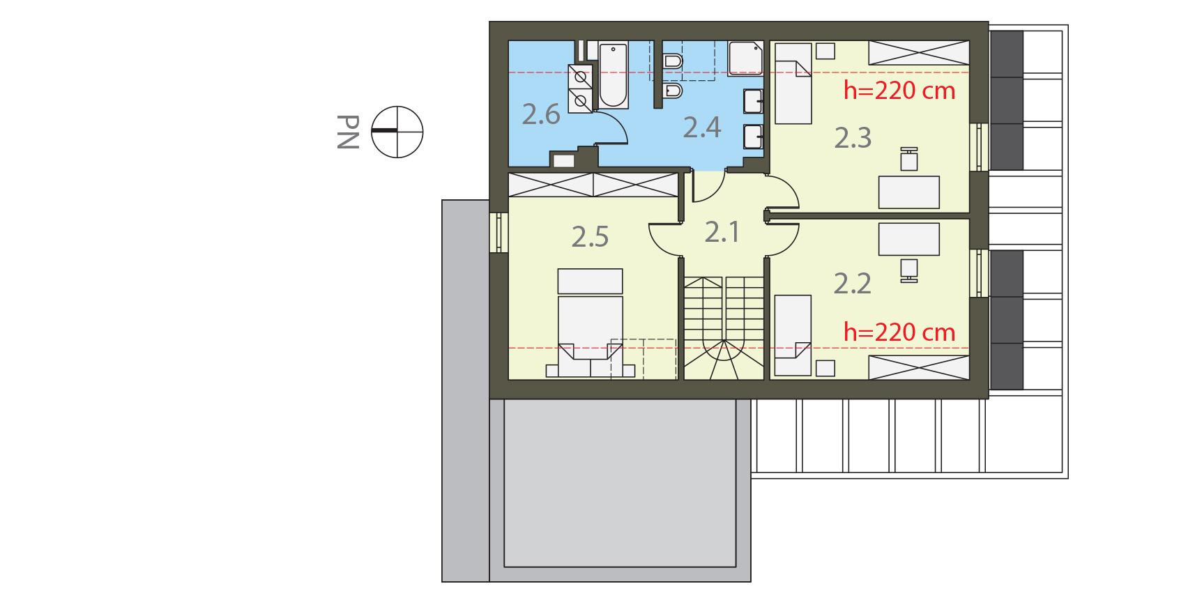 Projekt domu PROSTY Domy Czystej Energii rzut piętra