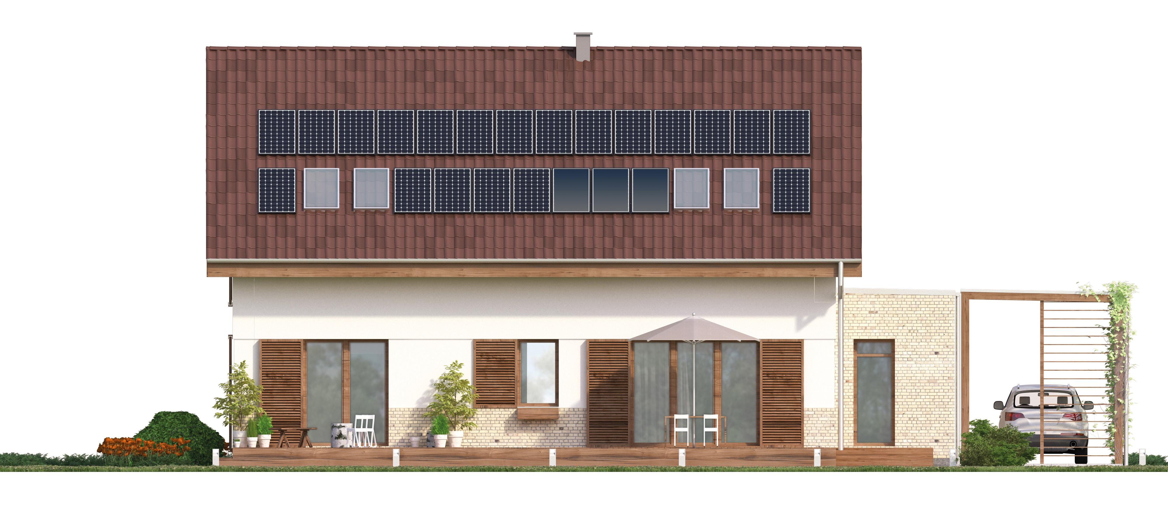 Projekt domu PRZESTRONNY Domy Czystej Energii elewacja tylna