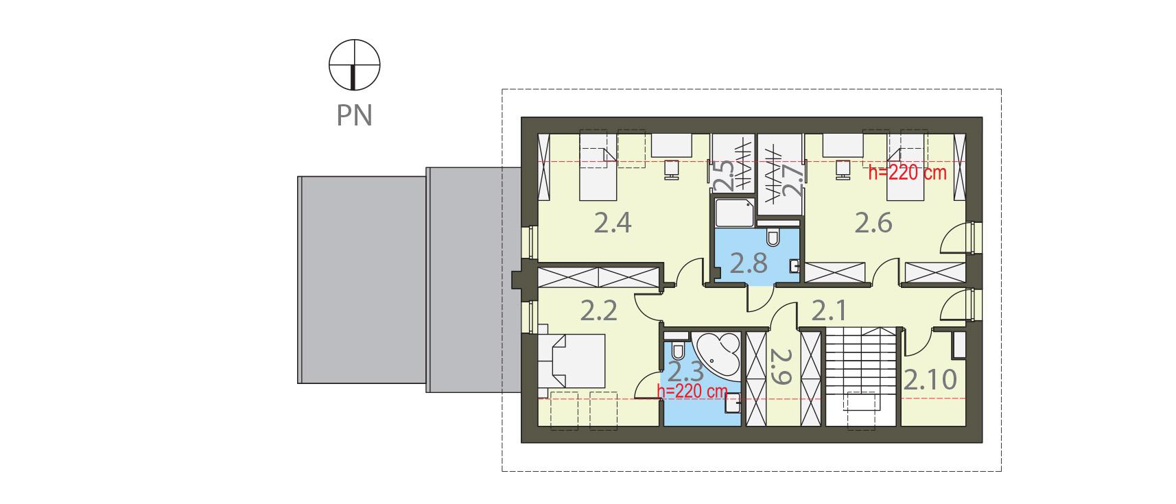 Projekt domu PRZESTRONNY Domy Czystej Energii rzut piętra