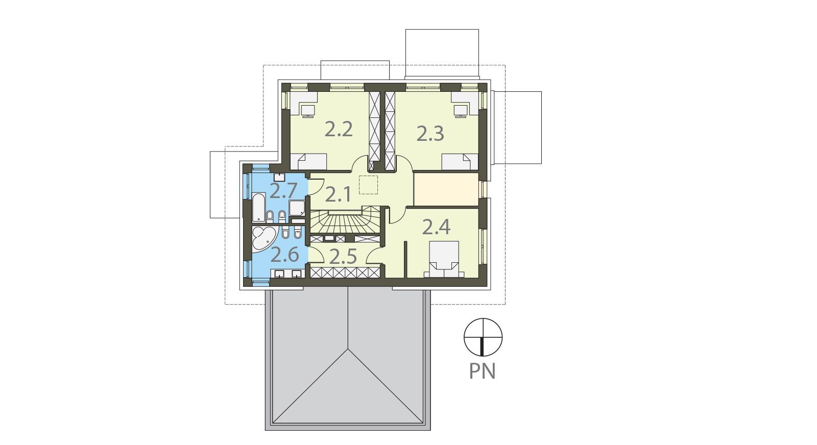 Projekt domu PRZYJEMNY Domy Czystej Energii rzut piętra