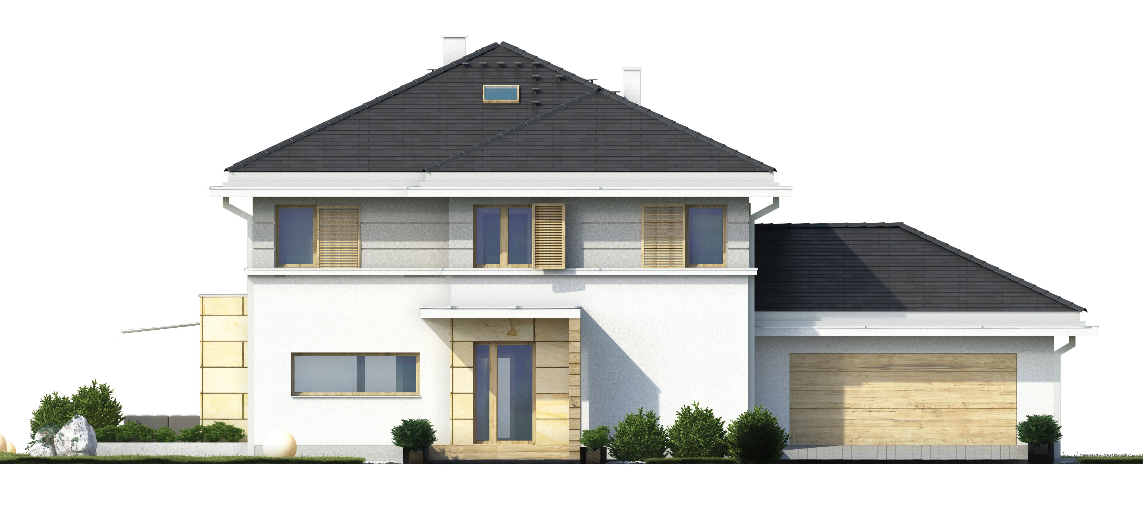 Projekt domu PRZYJEMNY Domy Czystej Energii elewacja frontowa