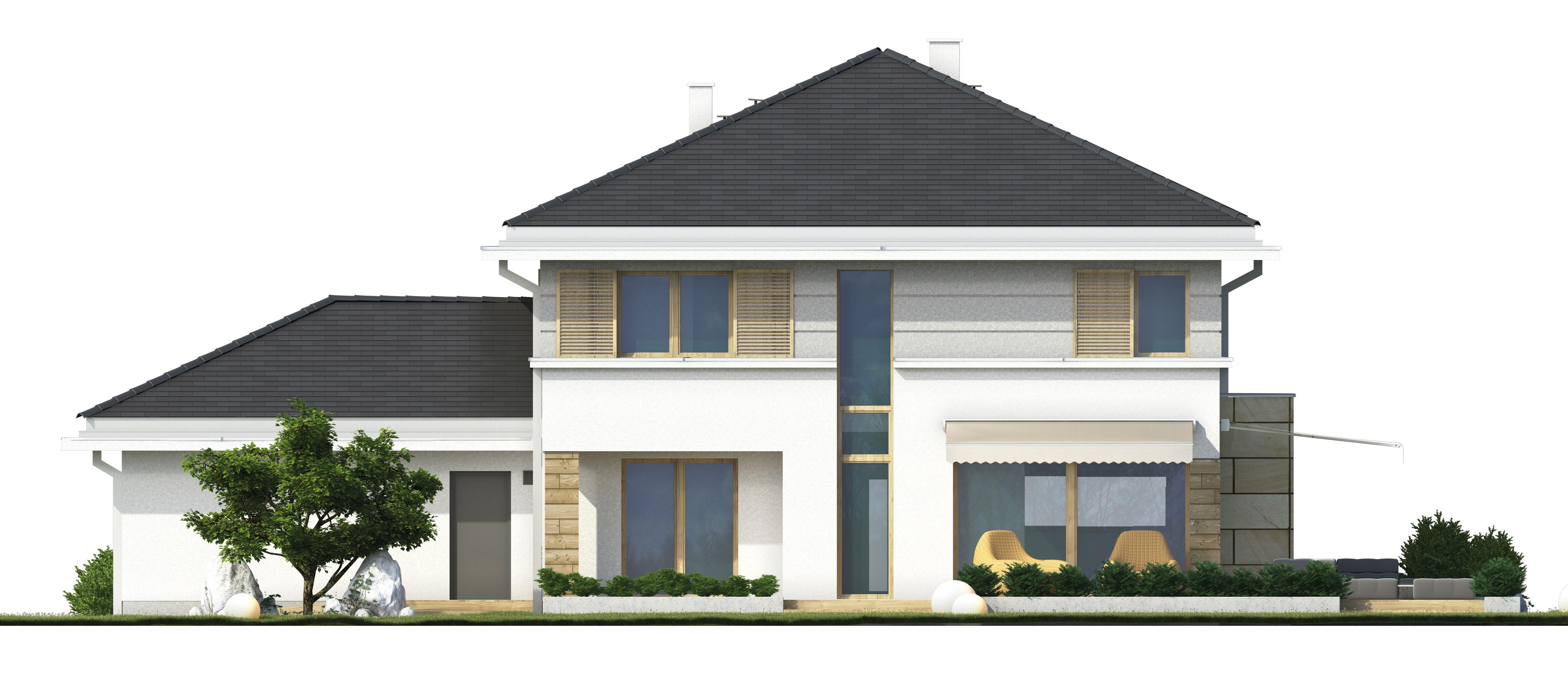 Projekt domu PRZYJEMNY Domy Czystej Energii elewacja tylna