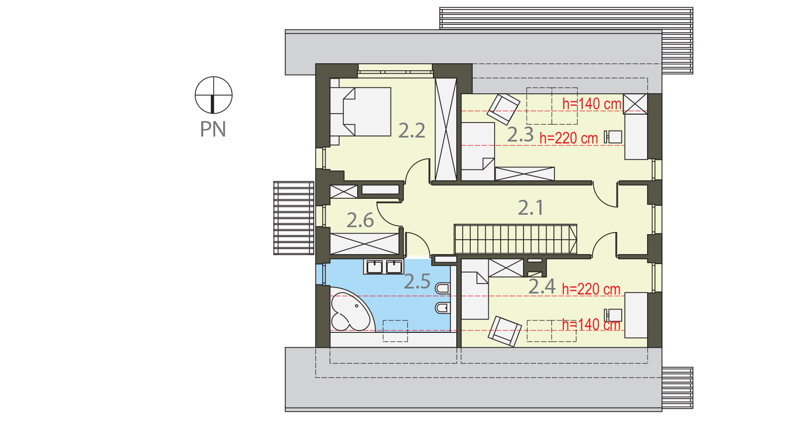 Projekt domu PRZYTULNY Domy Czystej Energii rzut piętra