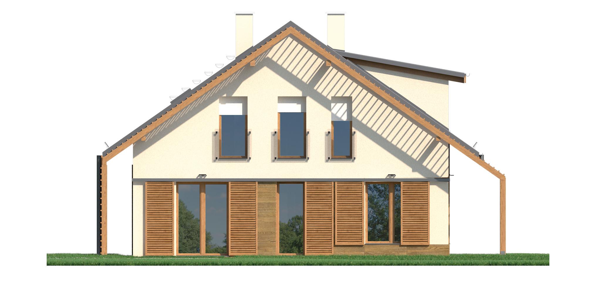 Projekt domu PRZYTULNY Domy Czystej Energii elewacja tylna