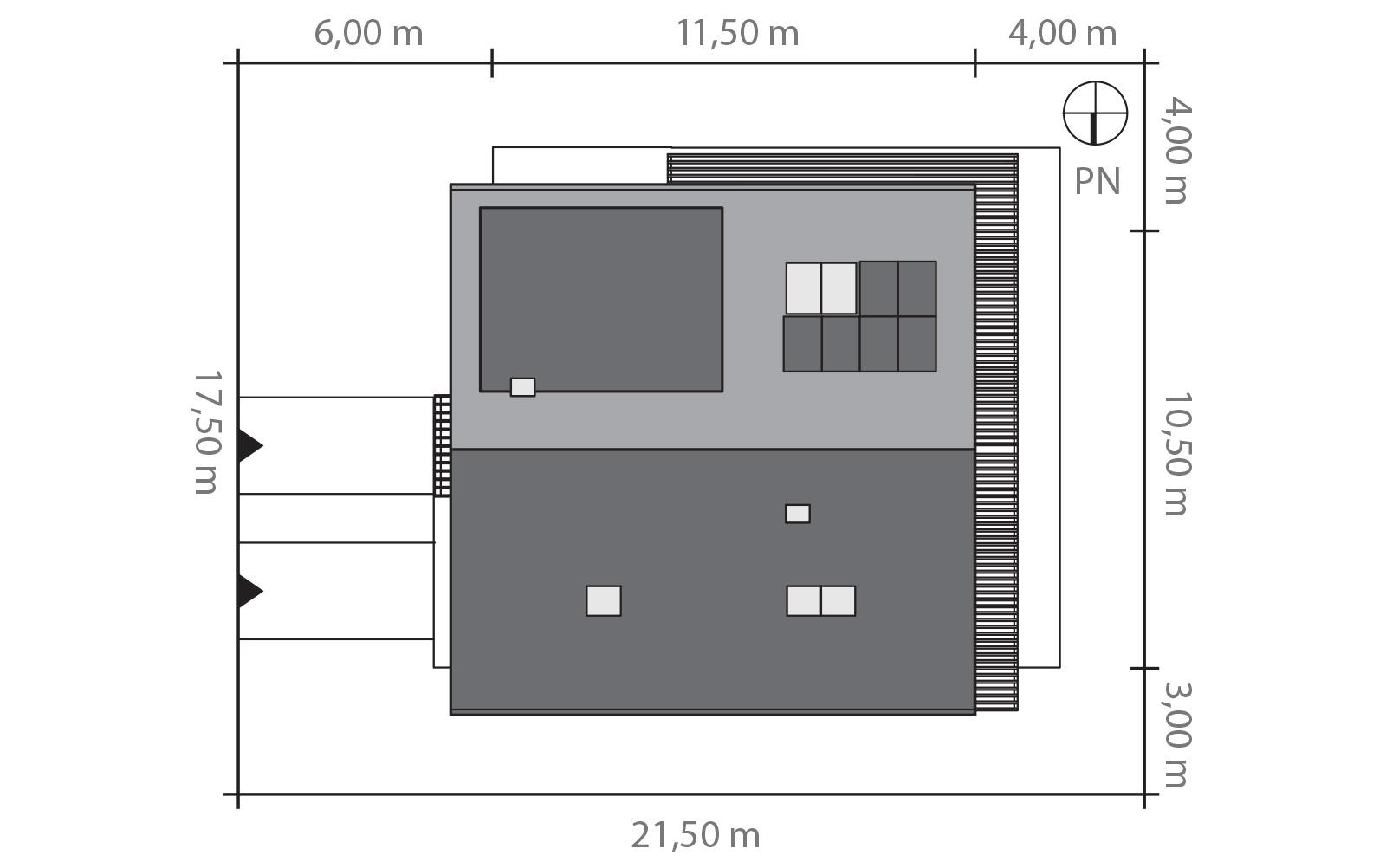 Projekt domu PRZYTULNY Domy Czystej Energii rzut działki