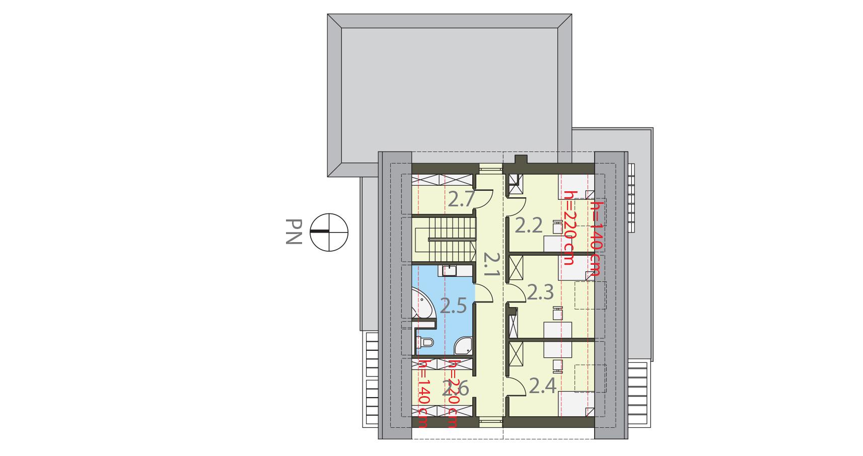 Projekt domu RATAJÓWKA Domy Czystej Energii rzut piętra