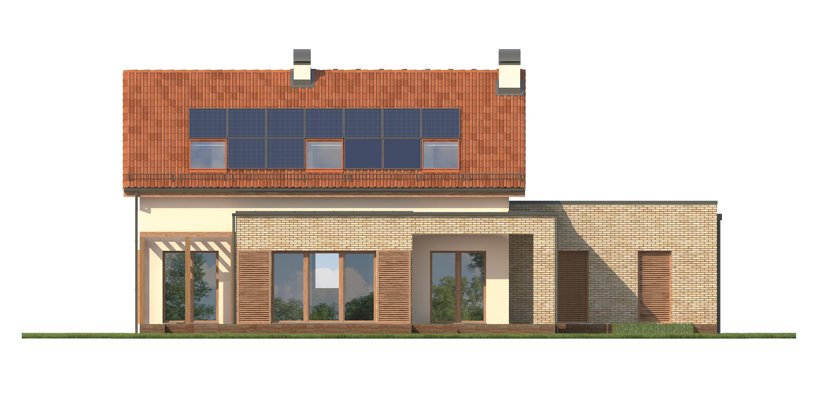 Projekt domu RATAJÓWKA Domy Czystej Energii elewacja tylna