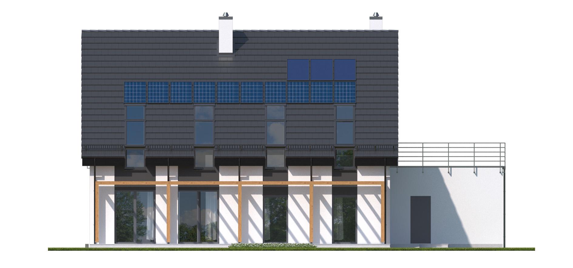 Projekt domu RYTM Domy Czystej Energii elewacja tylna