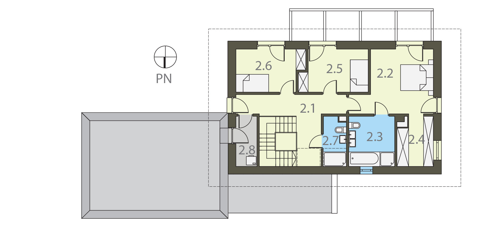 Projekt domu SAMOWYSTARCZALNY Domy Czystej Energii rzut piętra