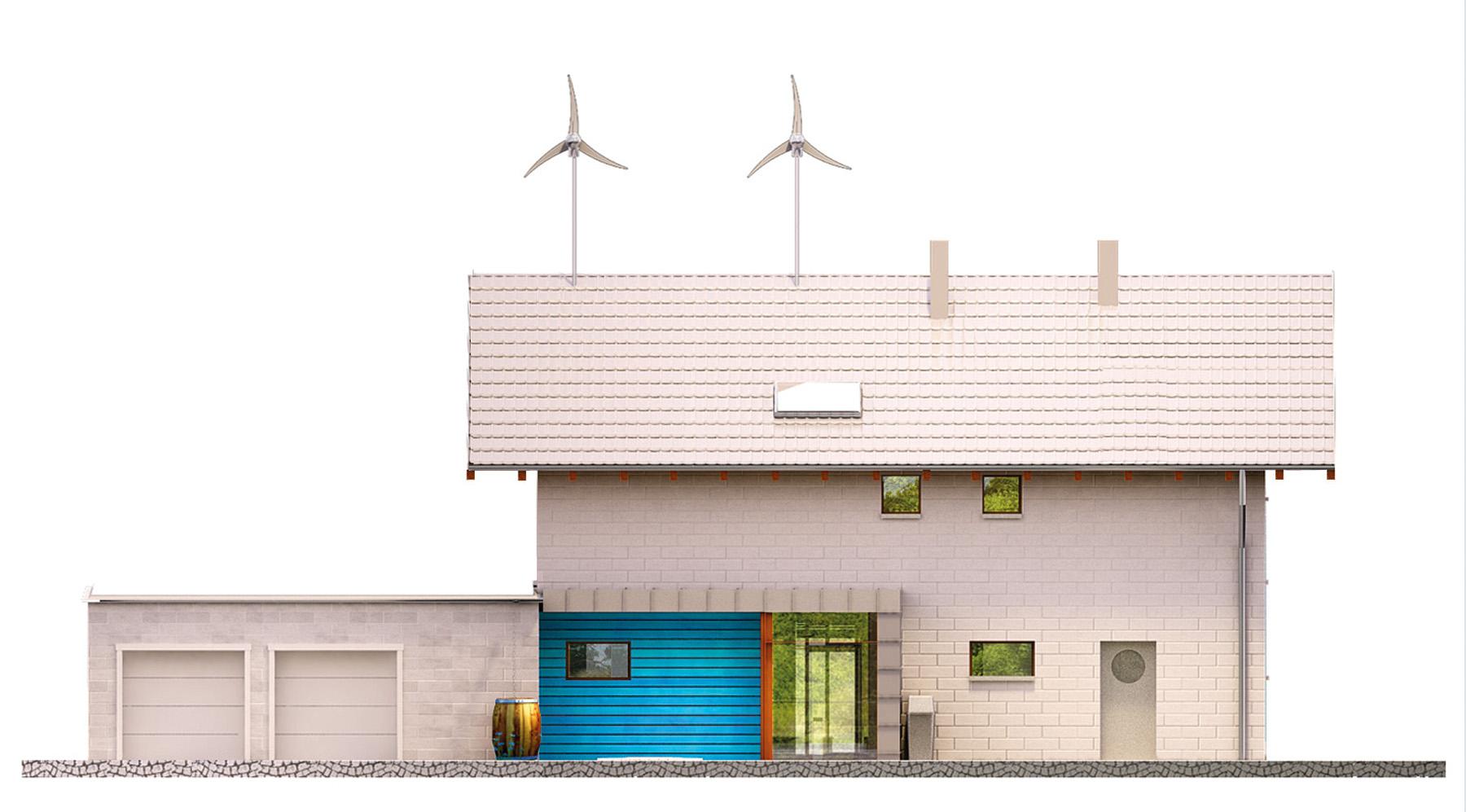 Projekt domu SAMOWYSTARCZALNY Domy Czystej Energii elewacja frontowa
