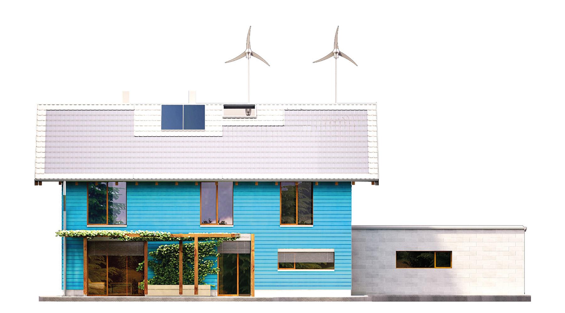 Projekt domu SAMOWYSTARCZALNY Domy Czystej Energii elewacja tylna