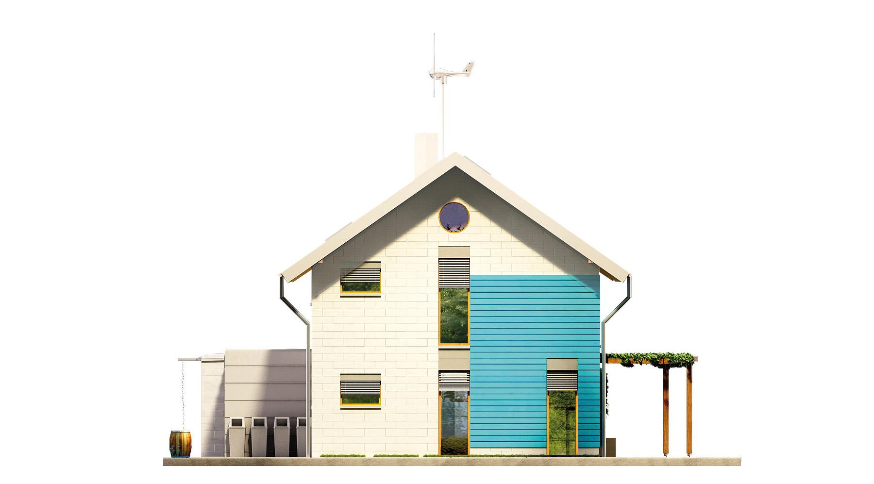 Projekt domu SAMOWYSTARCZALNY Domy Czystej Energii elewacja boczna