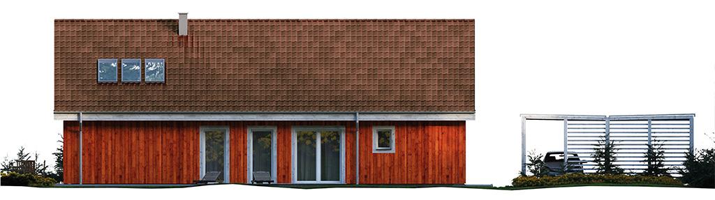 Projekt domu SKANDYNAWSKI Domy Czystej Energii elewacja tylna